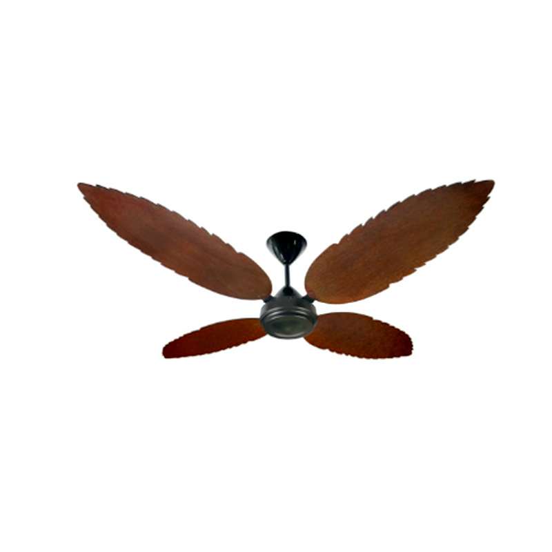 CEILING FAN WITH BLACK MOTOR AND WOODEN PALM LEAF MAHOGANY BLADES