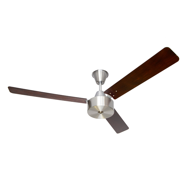 CEILING FAN WITH BRUSHED ALUMINIUM MOTOR AND WOODEN MAHOGANY BLADES